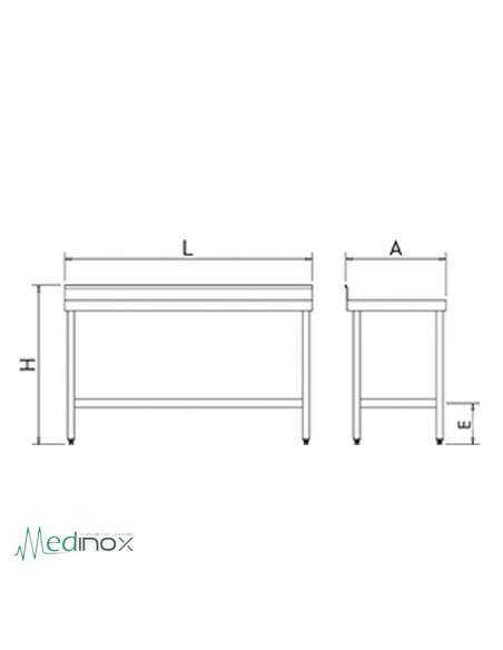 Mesa Acero Inoxidable con balda inferior FS070602