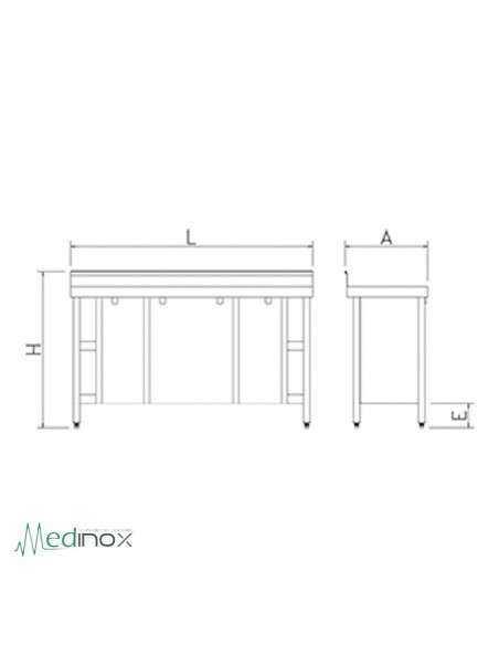 Mesa Inoxidable puertas abatibles FS074002