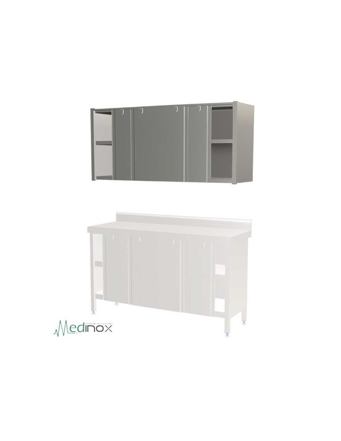 Aparador De Livros ~ Armarios de pared INOX FS080806 con puertas correderas estante central