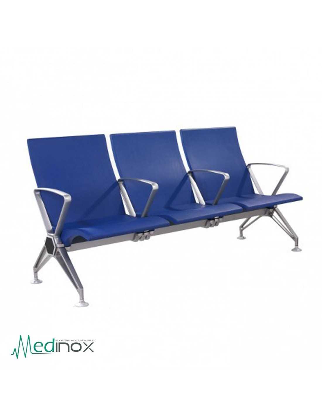Sillas sala espera rlhak3 3 bancadas con brazos para clinicas for Sillas sala de espera